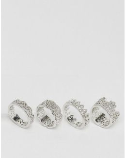 Pack Of 4 Filigree Rings