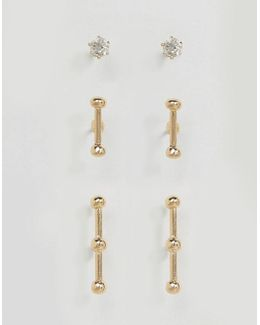 Pack Of 3 Stud And Bar Earrings
