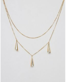 Twin Crescent Multirow Necklace