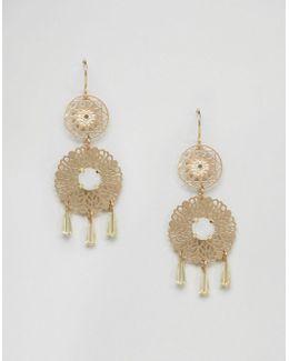 Double Filigree Drop Earrings