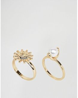 Pack Of 2 Pearl And Sun Rings