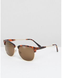 Retro Sunglasses In Tort With Temple Detail