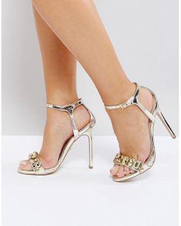 Gail Rose Gold Embellished Heeled Sandals
