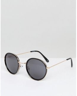 Round Sunglasses In Black Double Layer Frame