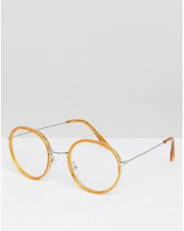 Round Glasses In Honey Double Layer Frame