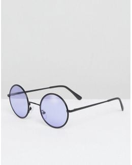 Round Sunglasses In Black With Purple Lens