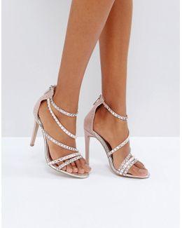 Grass Embellished Gem Strappy Heeled Sandals