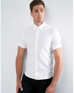 Dobby Shirt Short Sleeve Slim Fit In White