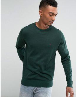 Jumper Plaited Cotton Silk In Green
