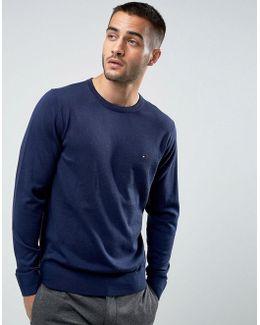 Jumper Plaited Cotton Silk In Blue