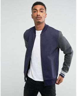Adrien Baseball Bomber In Navy