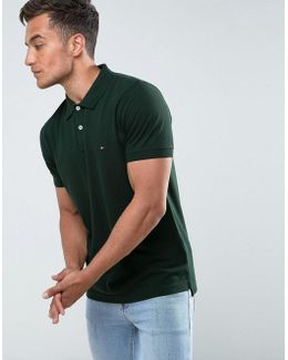 Luxury Pique Polo Tipped Slim Fit In Green