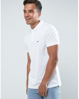 Luxury Pique Polo Tipped Slim Fit In White