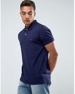 Luxury Pique Polo Tipped Slim Fit In Blue