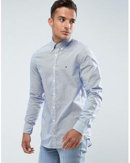 Stripe Shirt Fine Dobby Slim Fit In Blue