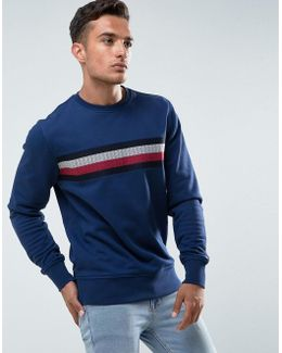 Lake Sweatshirt Icon Stripe Embroidery In Blue