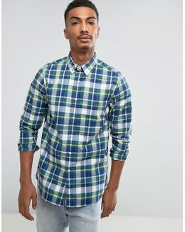 Ifan Check Shirt Slim Fit In Blue