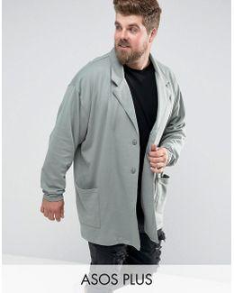 Plus Oversized Super Longline Jersey Duster Coat In Green