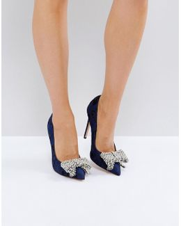 Kg By Kurt Geiger Bow Pearl Detail Court Shoes