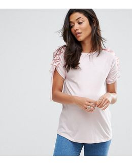 T-shirt With Ruffle & Drawstring Sleeve Detail