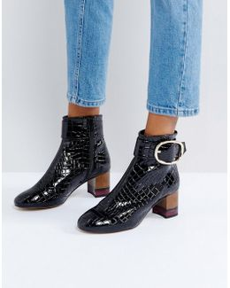 Kg By Kurt Geiger Ringo Croc Effect Block Heeled Ankle Boots