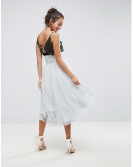 Midi Tulle Skirt With Button Back Detail
