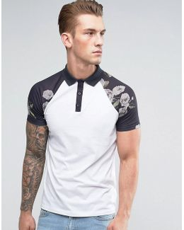 Polo With Contrast Raglan Pixel Floral Print Sleeves