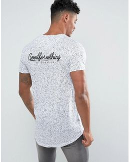 Muscle T-shirt In White Speckle With Back Print