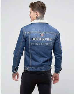 Muscle Denim Jacket In Blue With Borg Lining