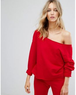Lounge Raw Edge Off Shoulder Sweat