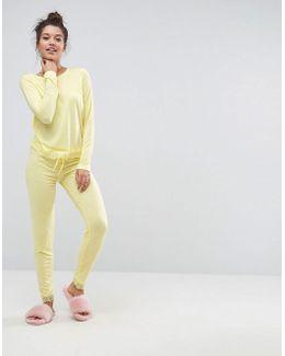 Eyelash Lace Trim Long Sleeve & Legging Pajama Set