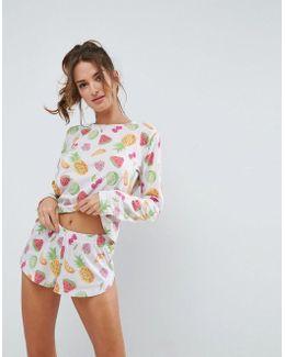 Fruit Long Sleeve Top & Short Pyjama Set