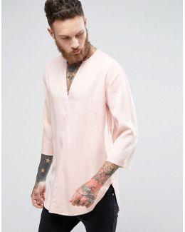 Regular Fit Longline Viscose Shirt In Pink With V Neck
