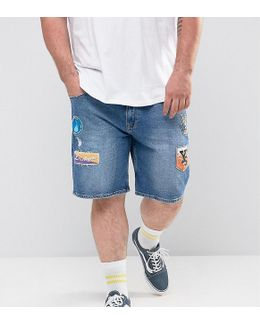 Plus Slim Denim Shorts In Mid Wash Blue With Patches