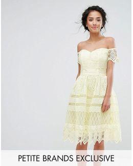 Chi Chi Petite Premium Lace Off The Shoulder Paneled Lace Midi Dress
