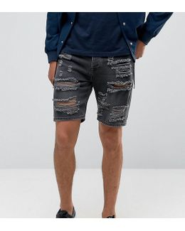 Denim Shorts In Slim With Extreme Rips Washed Black