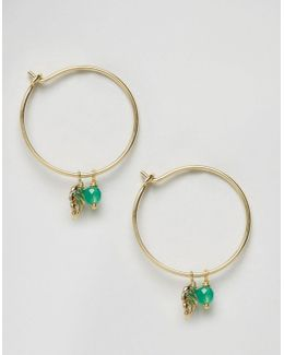 Palm Leaf & Bead Charm Hoop Earrings