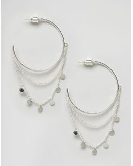 Statement Coin Drape Hoop Earrings