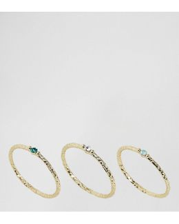 Gold Plated Multi Stone Ring Pack