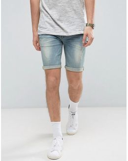 Denim Shorts In Super Skinny With Abrasions Light Wash Blue