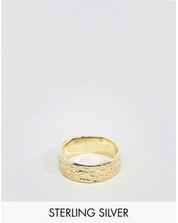 Gold Plated Sterling Silver Ring With Hammered Finish