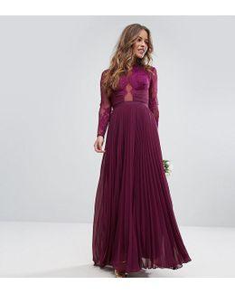 Wedding Pretty Lace Eyelash Pleated Maxi Dress