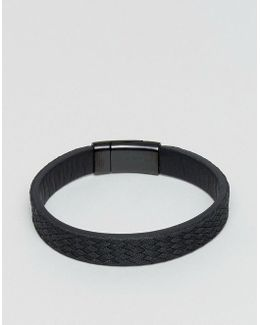 Textured Leather Bracelet In Black