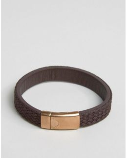Textured Leather Bracelet In Brown