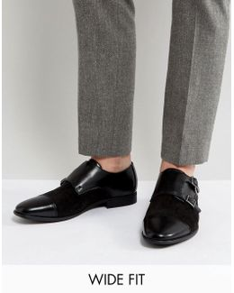 Wide Fit Monk Shoes In Black Leather