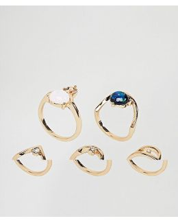 Pack Of 5 Shimmer Stone Rings