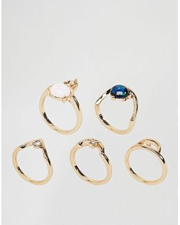 Pack Of 5 Shimmer Stone Rings