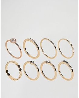 Pack Of 8 Simple Fine Rings