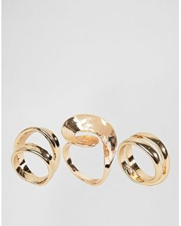 Pack Of 3 Abstract Swirl Rings