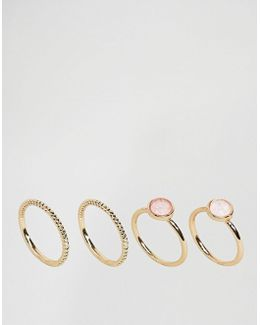 Pack Of 4 Iridescent Rings